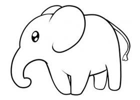 大象简笔画,如何画可爱的大象