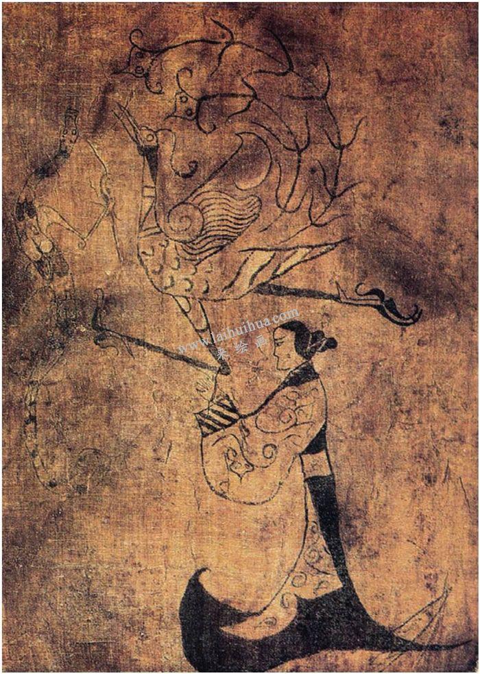 战国人物龙凤帛画 - 中国画
