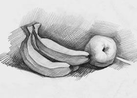 素描香蕉和苹果
