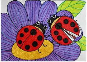 七星瓢虫水彩画