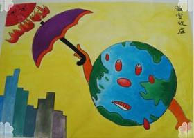 地球儿童水彩画欣赏