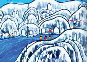 雪景儿童水彩画图集欣赏