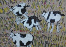 儿童奶牛水彩画欣赏