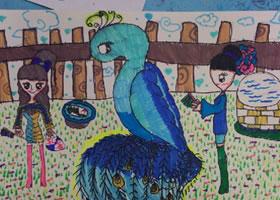 孔雀儿童水彩画图集