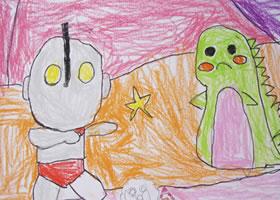 奥特曼蜡笔画|小怪兽蜡笔画