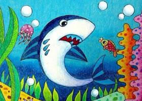 大鲨鱼蜡笔画