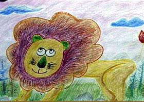小狮子蜡笔画图集