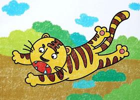 小老虎蜡笔画