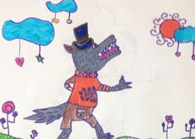 大灰狼和小白兔儿童水彩画