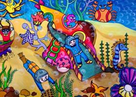 海底游乐场儿童科幻画