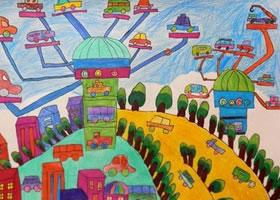 空中停车场儿童科幻画