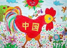 火红的公鸡(中国)儿童油棒画