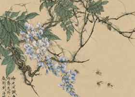 紫藤的国画画法