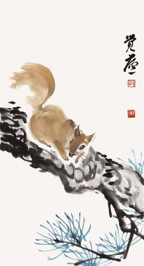 儿童油画棒简笔画_松鼠的国画画法|国画动物 - 来绘画网
