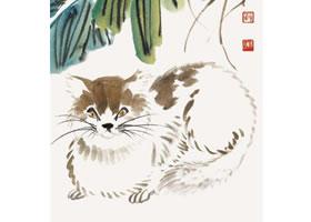 猫的国画画法步骤