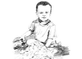 素描在沙滩玩的孩子画法步骤