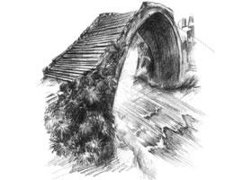 小桥的素描方法步骤