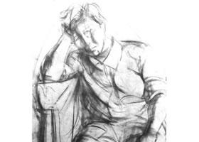 中年女性全身素描画法步骤(王岩作品)