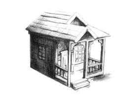 小木屋的素描绘画方法步骤