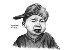 哭泣的男孩素描绘画步骤