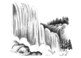 瀑布的素描方法步骤