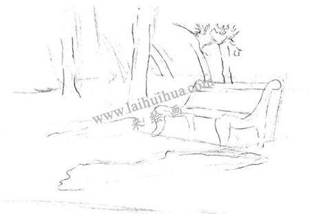 公园一角的素描绘画方法步骤 二