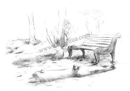 公园一角的素描绘画方法步骤 五