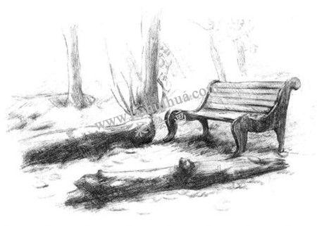 公园一角的素描绘画方法步骤 六