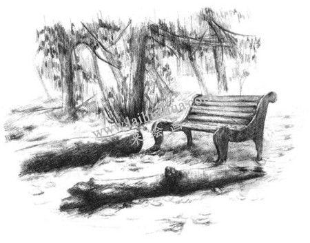 公园一角的素描绘画方法步骤 七