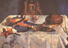 《鹦鹉与植物》静物油画