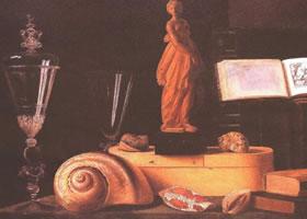 《有小雕像的静物》的静物油画