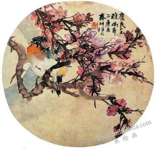 花月栖鸟 任伯年(清)