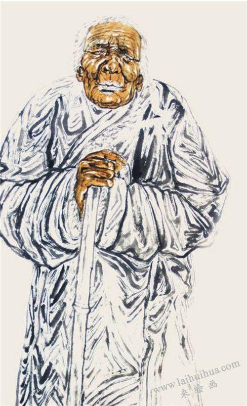 《西藏老人》作画步骤之三
