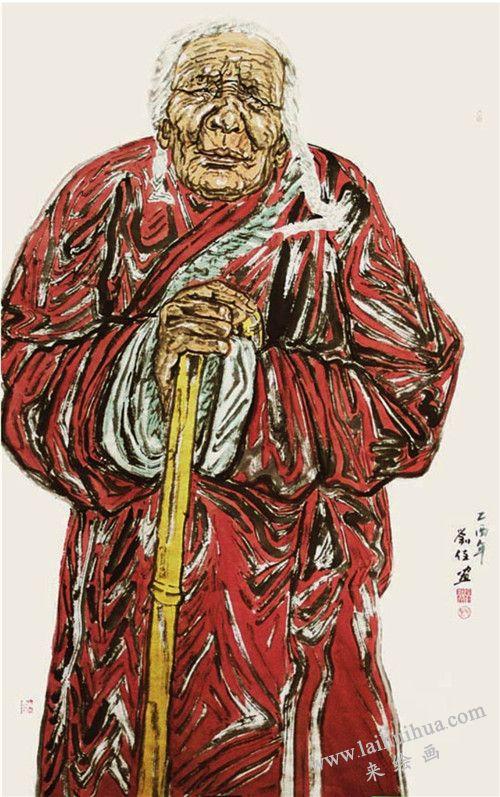 《西藏老人》作画步骤之五