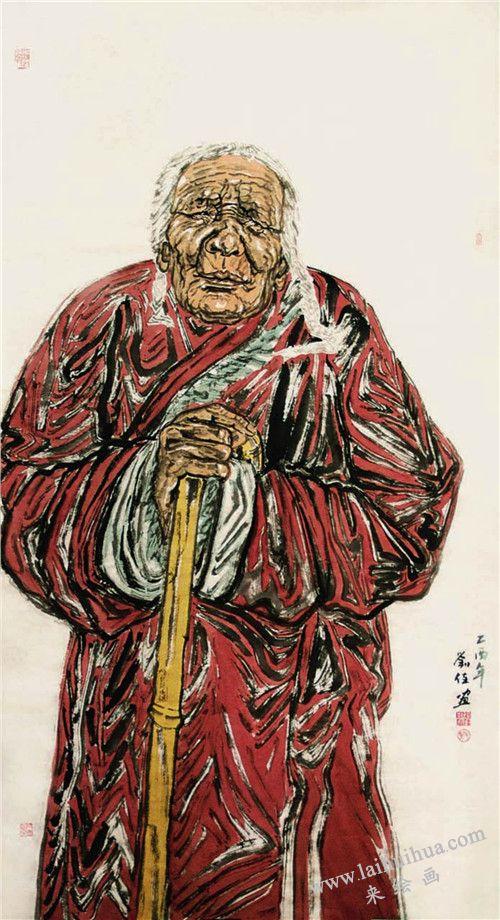 《西藏老人》作画步骤之六