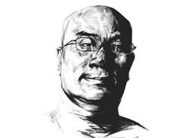 素描戴眼镜的中年男子正面肖像