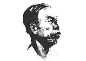素描四分之三老年男子肖像