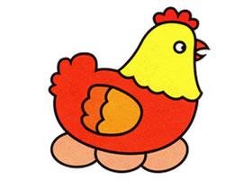 母鸡下蛋简笔画画法步骤