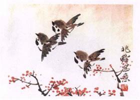 麻雀水墨画画法步骤
