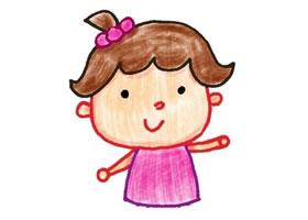 女孩色铅笔简笔画画法