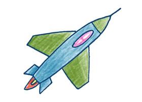 战斗机色铅笔简笔画