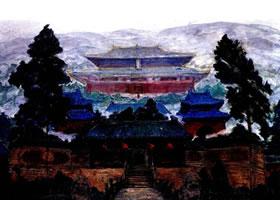 武当山古建筑群油画