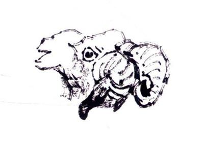 羊的写意画画法步骤一:羊的头和角