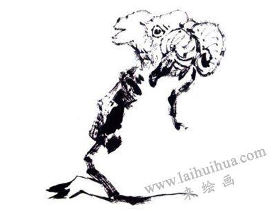羊的写意画画法步骤二:羊的颈部和前腿