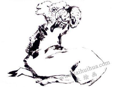 羊的写意画画法步骤三:羊的背部和腿