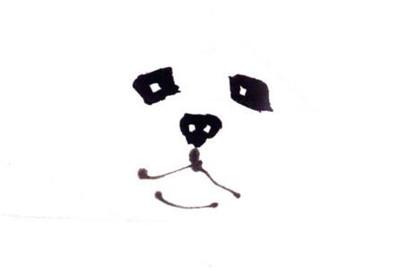 狗的写意画画法步骤一:狗的眼睛、鼻子