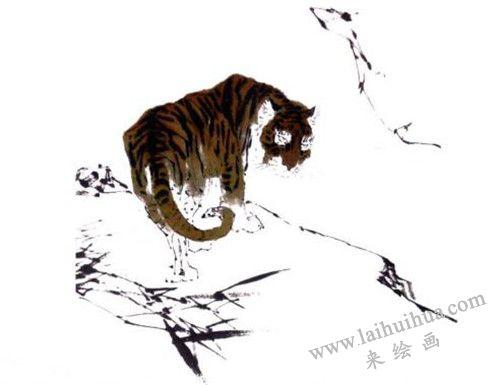老虎写意画画法步骤三:老虎的皮毛