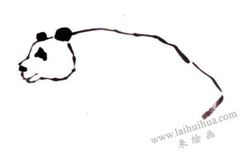 熊猫背部,熊猫写意画画法步骤二