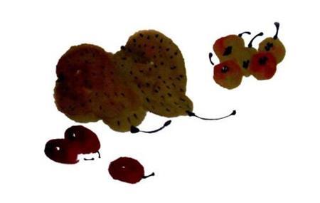梨的写意画画法步骤二:梨和枇杷