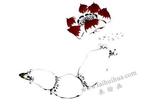 花蕊,莲藕写意画画法步骤三